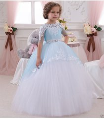 new princess bridesmaid flower girl dress lace appliques wedding prom ball gown