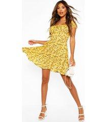 bloemenprint skater jurk met veters, geel