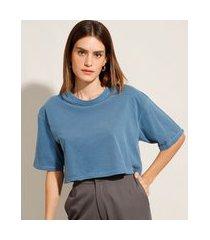 t-shirt oversized cropped de algodão manga curta decote redondo mindset azul