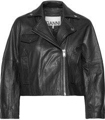 light grain leather leren jack leren jas zwart ganni