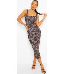 bandana print midaxi jurk met uitsnijding, black