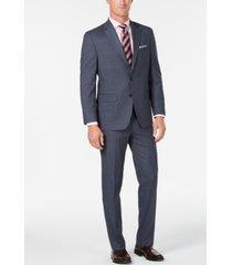 club room men's classic/regular fit stretch medium blue windowpane suit, created for macy's