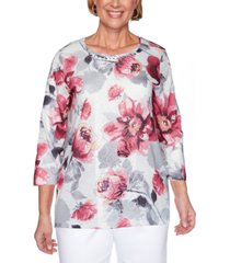 alfred dunner petite madison avenue floral-print lace top