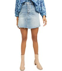 free people brea cutoff denim skirt, size 27 in mile high blue at nordstrom