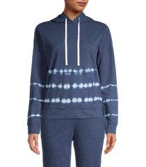 beach lunch lounge women's tie-dyed cotton-blend hoodie - dark indigo - size s