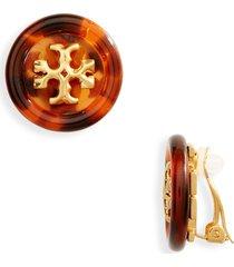 tory burch roxanne logo clip-on earrings in rolled brass /tortoise at nordstrom