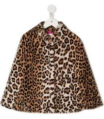 charabia faux fur cape - brown