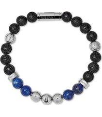 bulova men's black lava & lapis bead bracelet in stainless steel