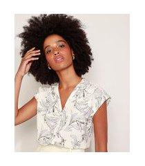 camisa feminina estampada floral manga curta off white