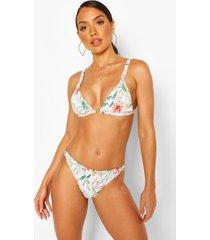 geribbelde tropische driehoekige bikini, wit