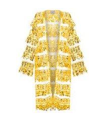 kimono feminino paête - amarelo