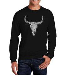 la pop art big & tall men's word art texas skull crewneck sweatshirt