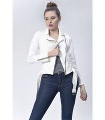 chaqueta biker dama blanco di bello jeans  classic jaket ref c088