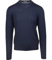 fedeli man round neck pullover in navy blue worsted wool