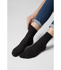 calzedonia women's diamond pattern opaque socks woman black size tu
