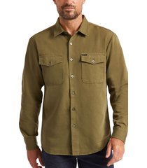 brixton davis reserve button-up shirt, size large in olive at nordstrom