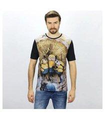 camiseta masculina minions creat emporio alex malha preto
