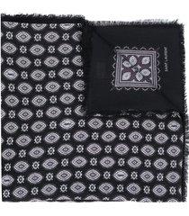 saint laurent bandana-print frayed scarf - black
