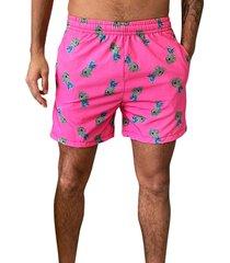 shorts praia j10 estampa mini caveiras microfibra com elastano bolsos nas laterais ref.1036 rosa