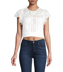 imani open back lace cropped top