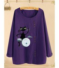 camicetta taglia plus manica lunga stampa gatto cartone animato pulsante