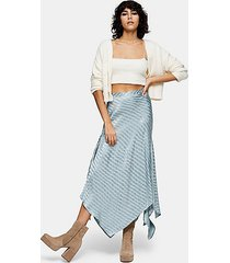 idol duck egg blue jacquard hanky hem skirt - duck egg