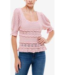 q & a crocheted short-sleeve sweater top