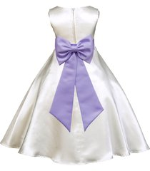 ivory a-line satin flower girl dress pageant wedding bridal recital tiebow 821t