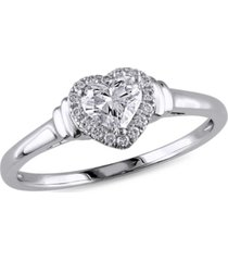 certified diamond (1/2 ct. t.w.) heart-shape halo engagement ring in 14k white gold
