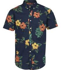 kronstadt overhemd johan exotic oranje bloem print slim fit blauw
