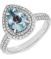 saks fifth avenue women's 14k white gold, aquamarine & diamond engagement ring/size 7 - size 7