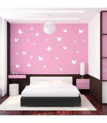 adesivo de parede borboletas brancas para quarto infantil - branco - dafiti