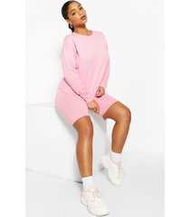 plus trui en shorts lounge set, roze