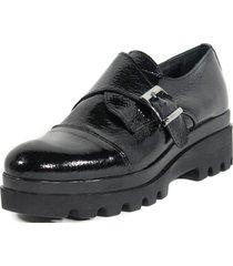 zapato hebilla lateral negro nara