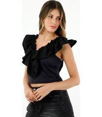 crop top de mujer de silueta ajustada, cuello en v, manga sisa con boleros, color negro