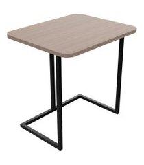 mesa lateral tubular unitá tampo amadeirado escuro 54.3cm