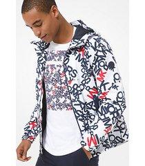 mk giacca con cappuccio e logo - bianco cangiante (bianco) - michael kors