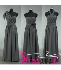 grey bridesmaid dress,chiffon long grey bridesmaid prom gown bridal brides bon09