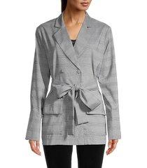 avantlook women's plaid-print coat - grey - size l