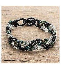 glass beaded wristband bracelet, 'braids of harmony' (guatemala)