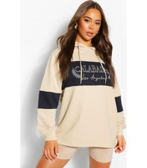 oversized colourblock hoodie met tekst, sand