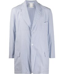 comme des garçons pre-owned relaxed-fit pinstriped jacket - blue