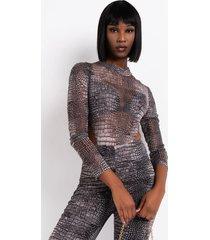 akira croc babe highside mesh long sleeve bodysuit