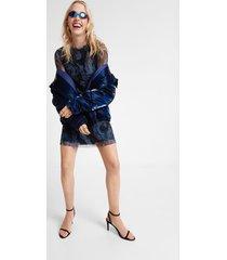 3d effect marbled dress - black - xl