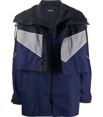 diesel convertible hooded windbreaker jacket - blue