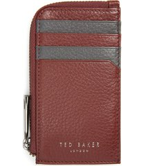 men's ted baker london leather zip card case - red
