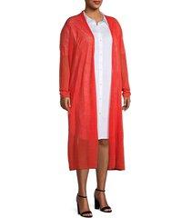 eileen fisher women's plus organic linen-blend longline cardigan - geranium - size 2x (18-20)