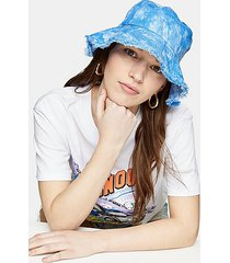 blue tie dye fray bucket hat - blue