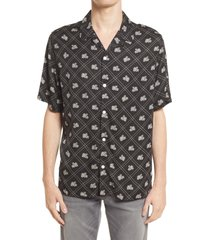 allsaints men's rose relaxed fit floral short sleeve button-up shirt, size x-large in jet black at nordstrom