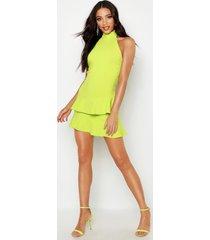 halterneck double ruffle mini dress, lime